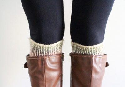 Reversible Tunisian Crochet Boot Cuffs