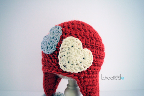 crochet sweet heart hat