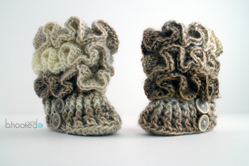 Crochet Ruffled Baby Booties - B.hooked Crochet