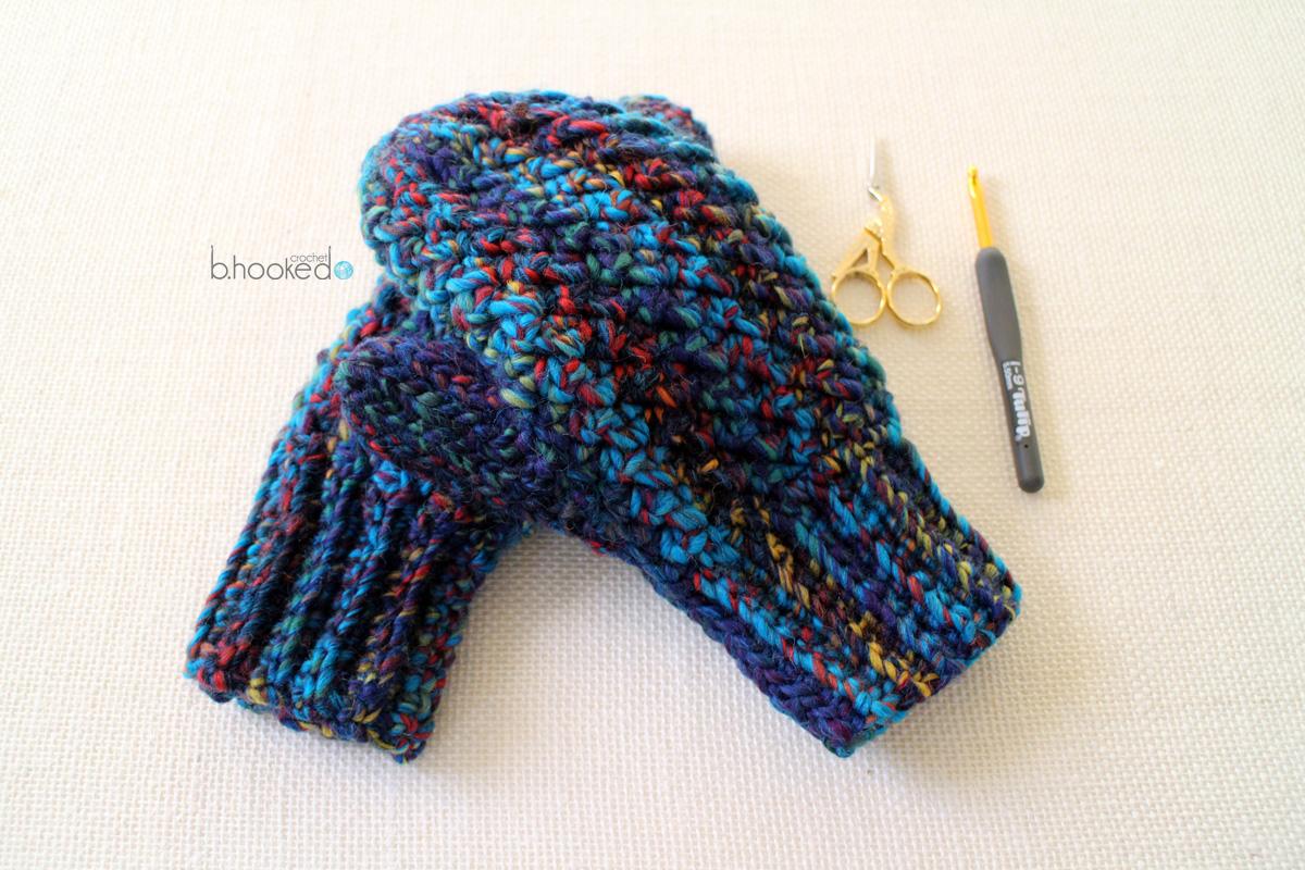 Crochet Woven Mittens