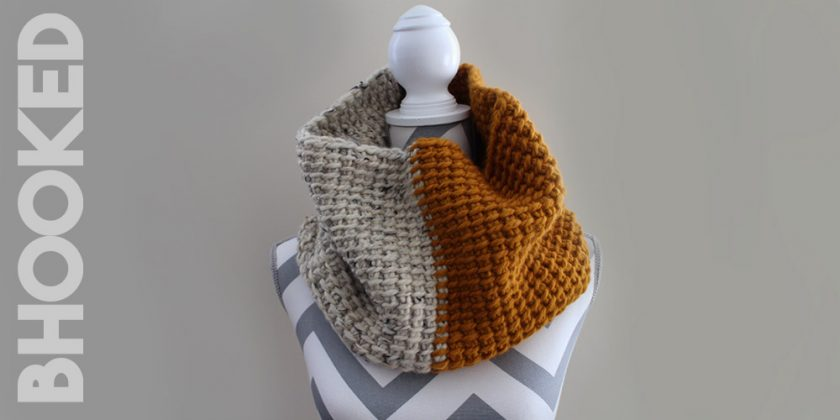 Two-Tone Tunisian Crochet Cowl