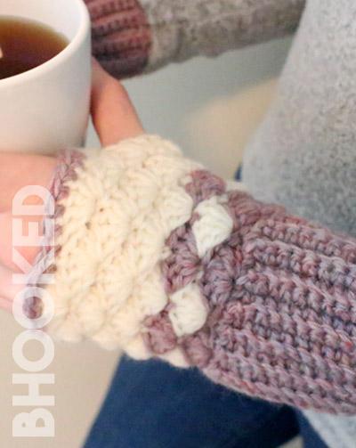 Shell Stitch Crochet Fingerless Gloves