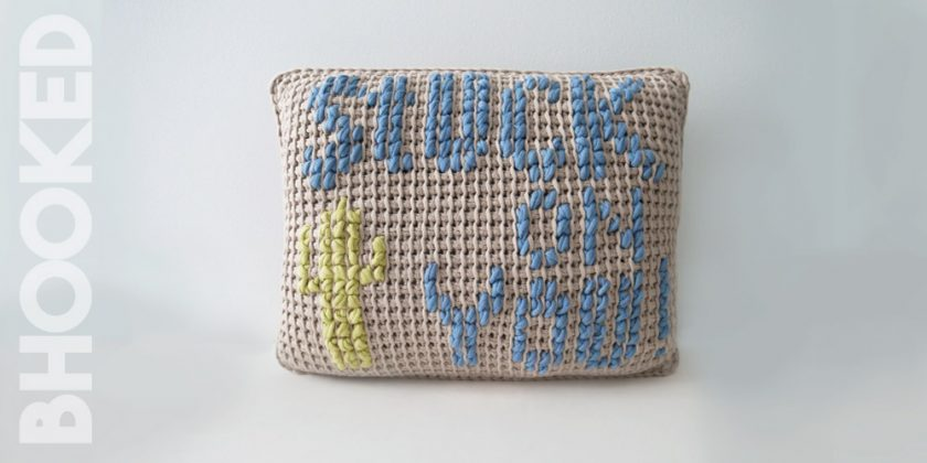 """Stuck On You"" Tunisian Crochet Pillow"