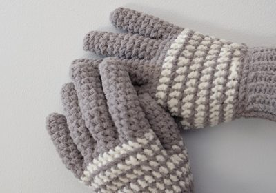 Cozy Striped Crochet Gloves