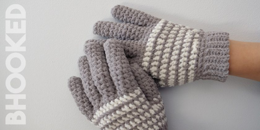 Cozy Striped Crochet Gloves