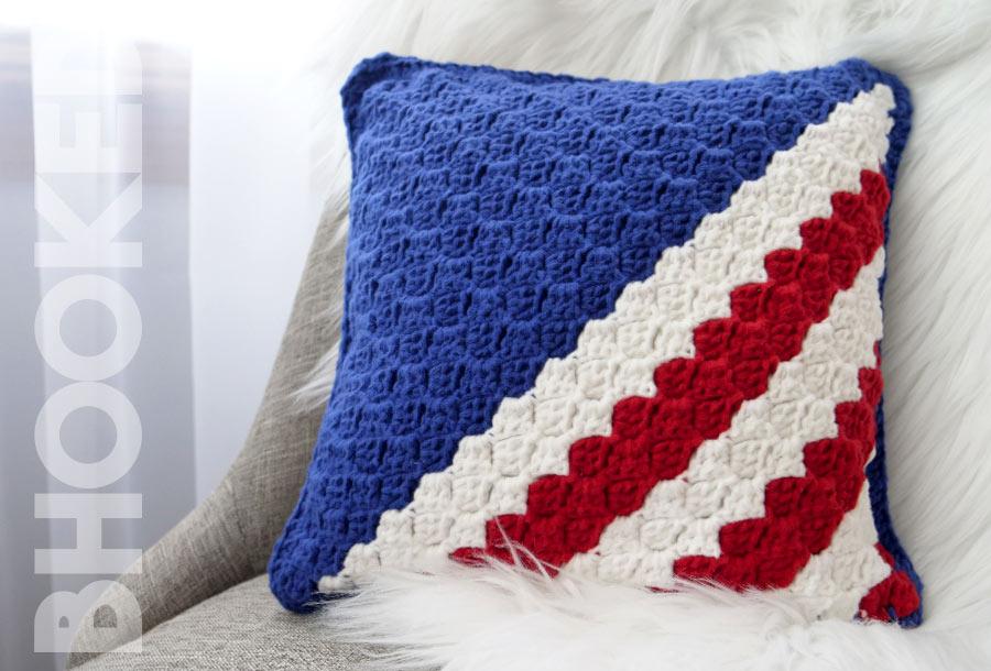 Red White Blue Crochet Pillow