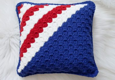 Red, White & Blue Crochet Pillow