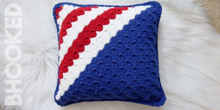 Red, White & Blue Crochet Pillow
