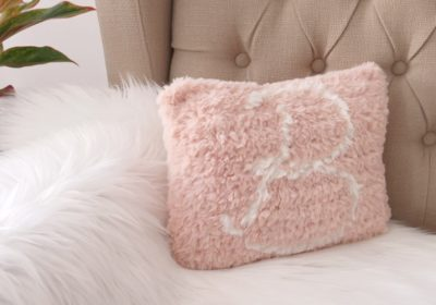 Faux Fur Monogram Crochet Pillow