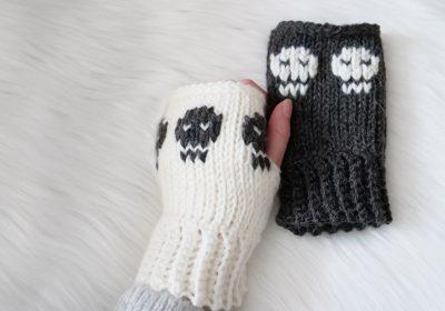 Spooky Skull Crochet Hand Warmers