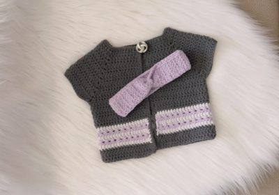 Spring Baby Crochet Cardigan & Matching Headband